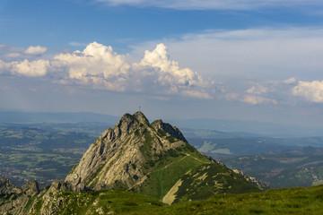 Giewont peak on the background of Zakopane. Tatra Mountains. Poland.
