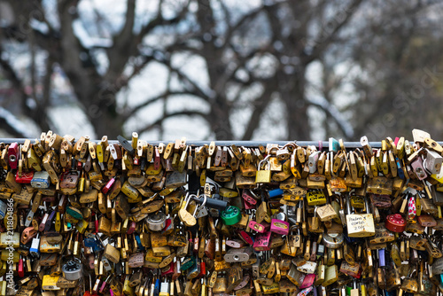 Fridge magnet Love padlocks at Pont de l'Archeveche in Paris. The thousands of locks of loving couples symbolize love forever.