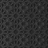3D dark paper art Islamic geometry cross pattern seamless background