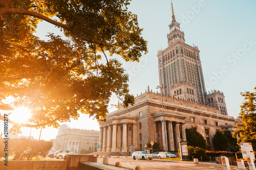 Foto Murales view of the palace of culture and arts at dawn in Warsaw Poland