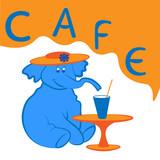 Blue elephant in cafe
