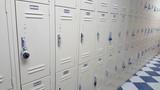 School lockers off white, black and white tile floor - 211808869
