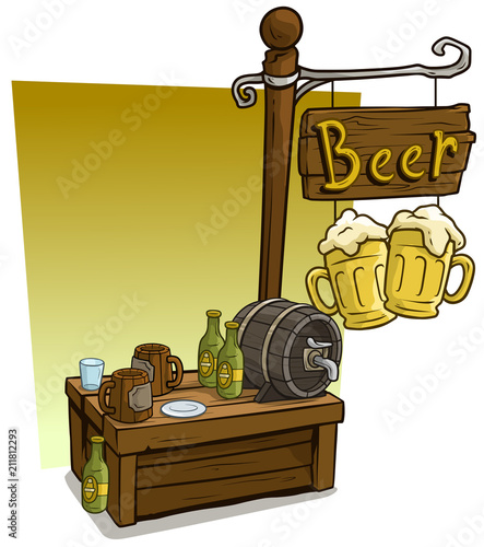 Cartoon beer vendor booth market wooden stand - 211812293