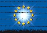 Europe - migrant - concept - fil barbelé - Lampedusa - symbole - union européenne - 211815855