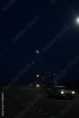 Canvas Nacht snelweg El malecon, Havana, Cuba