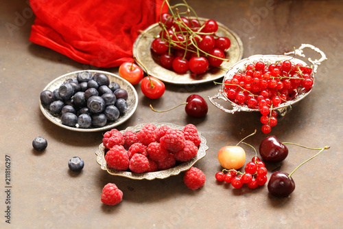 ripe organic mix berries rustic still life - 211816297