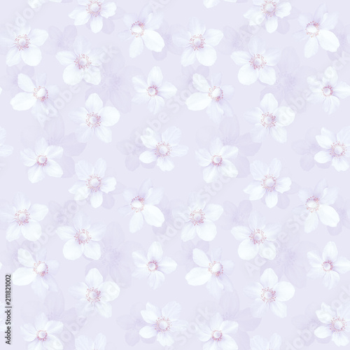 Cotton fabric Seamless abstract pink background with anemones
