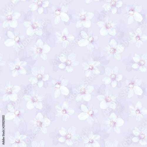 Materiał do szycia Bezszwowe tło różowy z zawilce