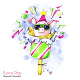 Greeting holidays illustration. Watercolor cartoon pig in popsicle with candies and confetti. Funny dessert. Birthday symbol. Food. Perfect for T-shirts, invitations, cards, phone cases. - 211823019