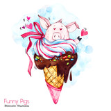 Greeting holidays illustration. Watercolor cartoon pig in ice cream cone with candies and hears. Funny dessert. Love symbol. Food. Perfect for T-shirts, invitations, cards, phone cases. - 211823030