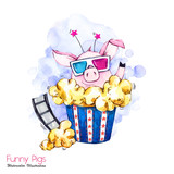 Greeting holidays illustration. Watercolor cartoon pig in pop corn box with glasses and film. Cinema. Funny surprise. Birthday symbol. Perfect for T-shirts, invitations, cards, phone cases. - 211823071