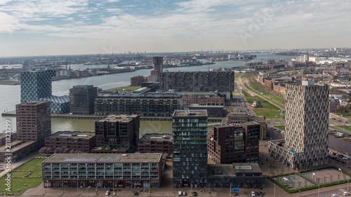 Fotobehang Rotterdam Embankment with modern buildings