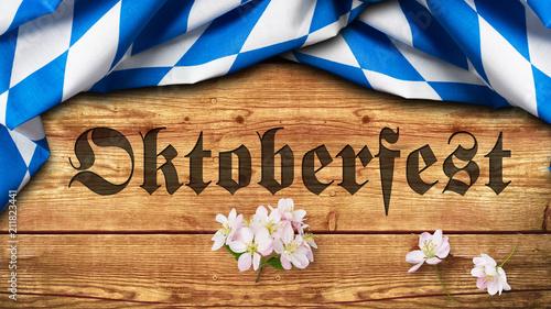 """Leinwanddruck Bild Tischtuch mit bayrischem Rautenmuster auf Holzuntergrund mit Aufschrift """"Oktoberfest"""""""