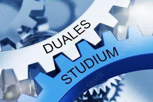 Leinwanddruck Bild DUALES STUDIUM - Metall Zahnräder