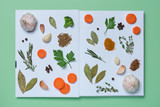 An open cookbook with pictures of living vegetables - 211824653