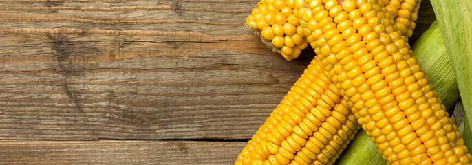 Ripe yellow sweet corn cob on a wooden table close-up, border design panoramic banner  © ruslan_khismatov