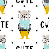 Cute hand drawn nursery seamless pattern with cool bear animal with glasses and hand drawn lettering.