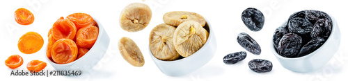 Trio of dried fruits isolated - 211835469
