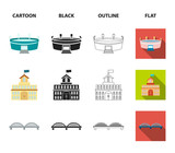 House of government, stadium, cafe, church.Building set collection icons in cartoon,black,outline,flat style vector symbol stock illustration web. - 211840222