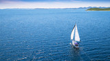 Sailing boat on open water, aerial view - 211843652