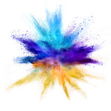 Explosion of coloured powder on white background - 211843675