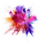 Explosion of coloured powder on white background - 211843683