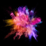 Explosion of coloured powder on black background - 211844076