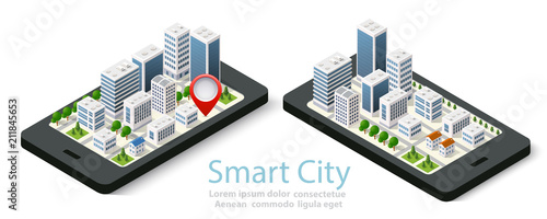Poster 3d map isometric city