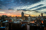 A colorful view of the Tribeca and Little Italy area of Manhattan, NYC at dawn.