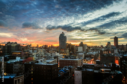 Foto Murales A colorful view of the Tribeca and Little Italy area of Manhattan, NYC at dawn.