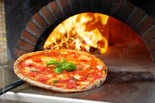 Hot Margherita Pizza Baked In Oven - 211848057