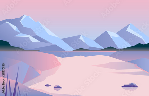 Fototapeta Low poly beautiful mountain landscape. Vector illustration.