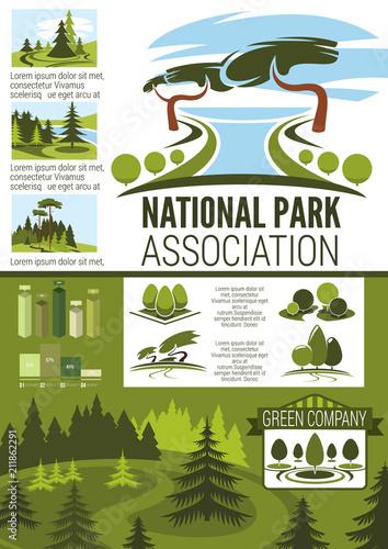 Fotobehang Wit City park and garden landscape design infographic