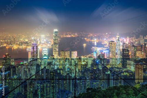 Hongkong Victoria Harbour city skyline and transparent glass