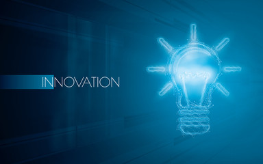 Light bulbs on a blue background. Creativity concept with innovation or inspiration in business, thinking outside the box.Strategy and leadership on teamwork. Opportunity, solution and success. © Cifotart