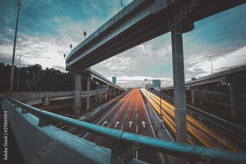 Fototapeta Traffic at Dawn in Kuala Lumpur