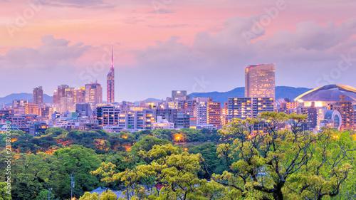 Fotobehang Lichtroze Fukuoka city skyline in Japan