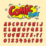 Comic retro font set. Alphabet letters & number in style of comics, pop art for title, headline, poster, comics, or banner design. Cartoon typography collection. - 211873406