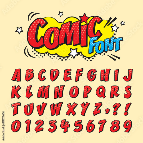 Comic retro font set. Alphabet letters & number in style of comics, pop art for title, headline, poster, comics, or banner design. Cartoon typography collection. © TinyDoz