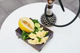 Fruit Shisha On Table In Hookah Bar Closeup