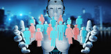White cyborg controlling group of people 3D rendering - 211883420