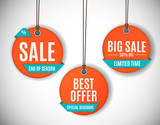 3D Price Sale Label Tags Set. Vector Illustration - 211883443