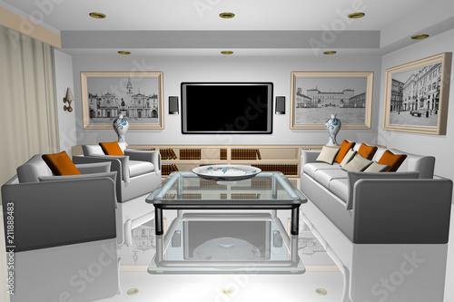 Casa. Interno salotto con televisore, poltrone, sofà, libri e quadri..