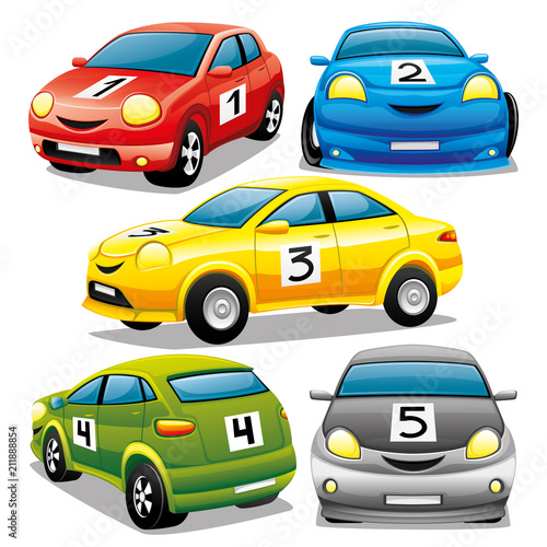Wall mural Set of cars on a white background.