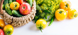 Vegetables In Basket On The White Background Yellow Tomatoes Pepper Cucumbers Dill Banner
