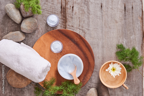 cosmetic cream and fresh lavender leaves on white wooden table background - 211891275