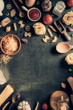 pasta and food ingredient  on table - 211897251
