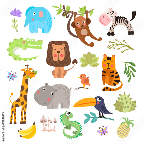 Sticker Cute set of safari animals and flowers. Savanna and safari funny cartoon animals. Jungle animals vector set. Crocodile, giraffe, lion and monkey, and other jungles and savannah animals in one cute