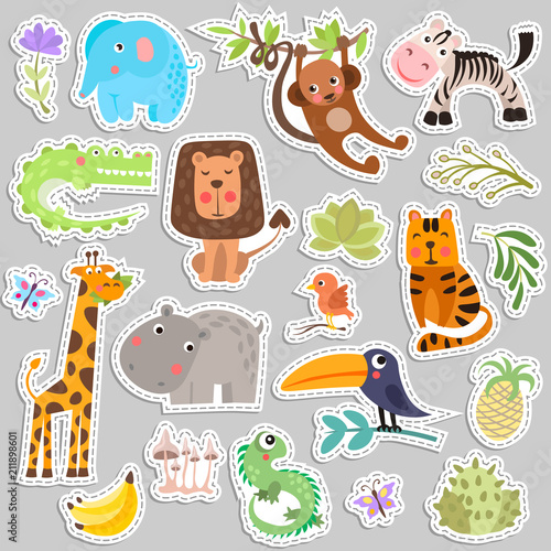 Sticker Cute set of stickers of safari animals and flowers. Savanna and safari funny cartoon sticker animals. Jungle animals vector set of sticker elements. Crocodile, giraffe, lion and monkey, and other