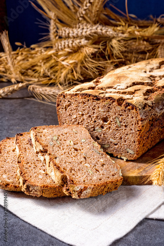 Fototapeta delicious and healthy home-made wholegrain bread with honey